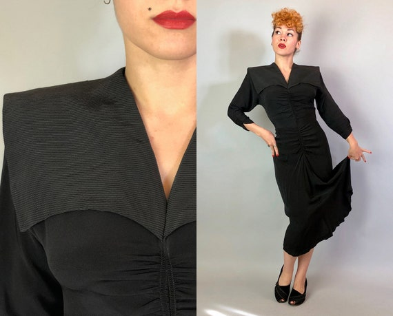 1940s Ruched Sailor Cocktail Dress | Vintage 40s Deep Black Rayon Dress w/Silk Faille Wide Collar & Bodice Ruching w/Flowing Skirt | Small