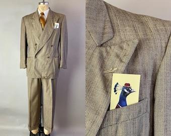 "1940s Spellbinding ""Spellman"" Suit | Vintage 40s Light Brown & White with Orange Stripe Wool Peak Lapel Jacket and Trousers | Size 42 Large"