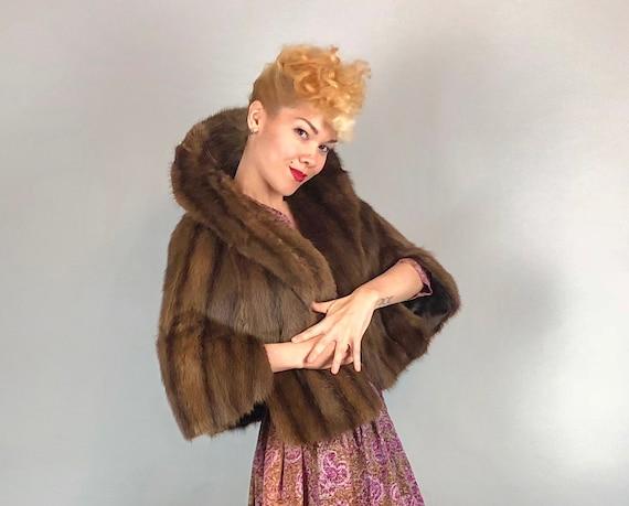 1950s Mink Fur Stole   Vintage 50s Light Brown Sumptuous Fur Stole Wrap with Stand Up Collar