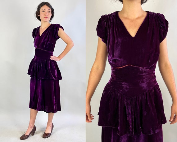 1940s Pretty Polly's Puff Sleeve Frock | Vintage 40s Plum Purple Rayon Velvet Cocktail Dress with Pointed Waist Peplum Belt | Small