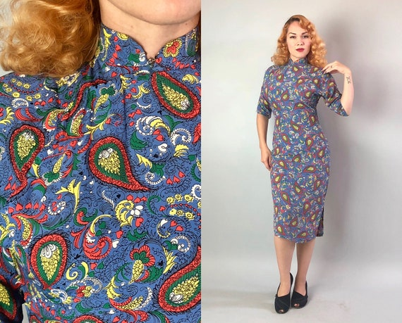 Vintage 1940s Dress | 40s Blue Red Green White and Yellow Cold Rayon Novelty Paisley Print Cheongsam QiPao with Elbow Length Sleeves | Small