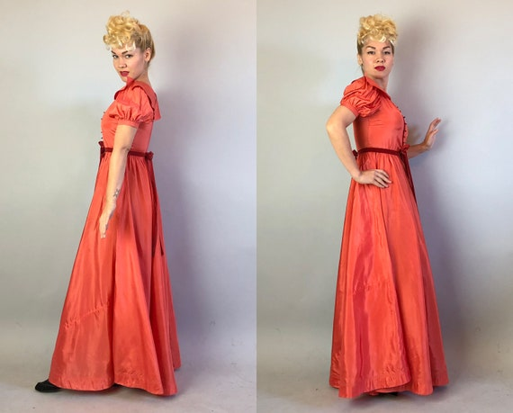 1930s Coral Silk Taffeta Evening Gown | Vintage 3… - image 8