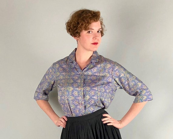 Vintage 1950s 1960s Blouse   50s 60s Purple, Blue, Cream White, and Yellow Paisley Style Silk Short Sleeve Shirt Bold Print Top   Large