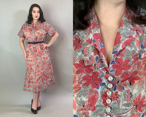 1940s Atomic Floral Dress | Vintage 40s Sheer Voile White, Red & Blue Short Sleeve Day Frock with Rhinestone Buttons Volup | Extra Large XL