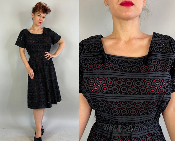 1940s Peggy's Peek-a-boo Dress | Vintage 40s Black Cotton Flocked Eyelet Cutout Striped Frock with Matching Belt | Extra Large XL Volup