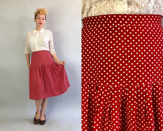 Vintage 1930s Skirt   30s Brick Red and White Polka-Dot Rayon Drop-Waist Pleated Midi Skirt   Medium