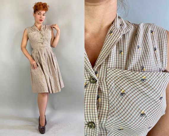 1950s Fruit Salad Picnic Dress | Vintage 50s Taupe Brown and Blue Gingham Cotton w/Embroidered Pineapples Shirtwaist Frock | Extra Small XS