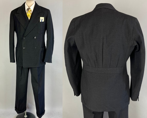 1930s Debonaire Don Belted Back Suit | Vintage 30s Three Piece Charcoal Grey Black Wool Suit with Jacket Vest and Trousers | Size 38 Medium