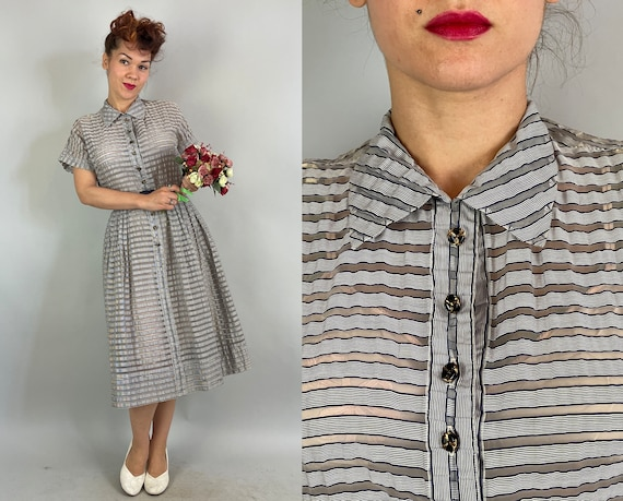 1940s Sassy Stripes Dress | Vintage 40s Blue and White Sheer and Opaque Striped Shirtwaist Frock Black & Gold Buttons | Large/Extra Large XL