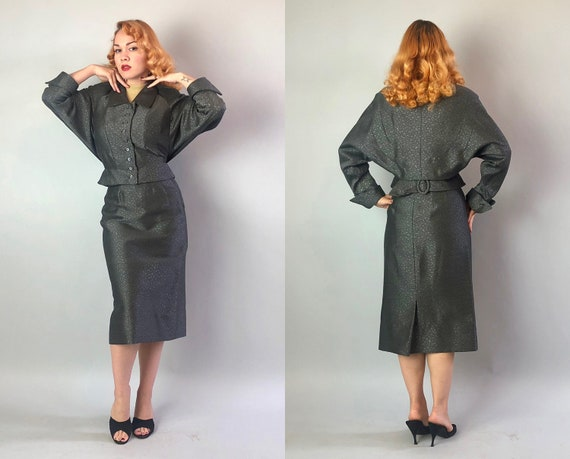 1950s New Look Womens Suit | Vintage Early 50s Gre