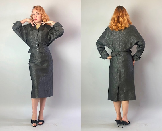 Vintage 1950s Womens Suit | Early 50s New Look Grey & Silver Burnout Wool Skirt + Jacket w/Exaggerated Dolman Sleeves + Belted Back | Small