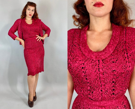 1940s Veronica's Valentine Dress Set   Vintage 40s