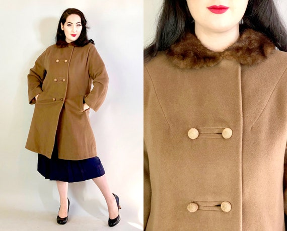 1950s Cashmere Swing Coat | Vintage 50s Mid Century Chestnut Brown Jacket with Mink Collar, Swirl Buttons, & Pockets! | Medium-ish