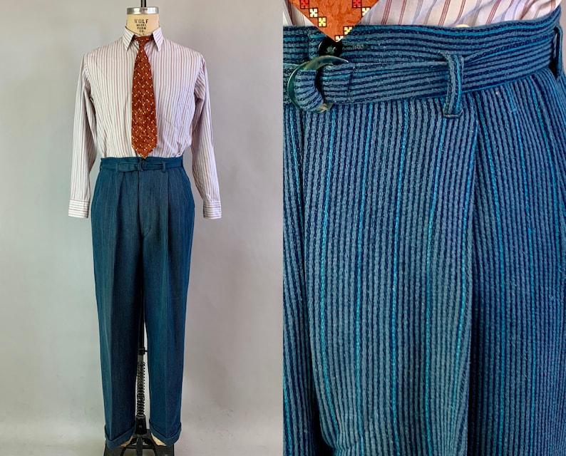 1930s Charismatic Carl Corduroy Trousers  Vintage 30s Slate image 0