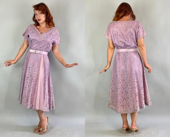 1940s Lovely Lavender Lace Dress   Vintage 40s Pa… - image 9