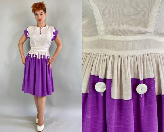 1940s Pretty Puzzle Piece Dress | Vintage 40s Whit