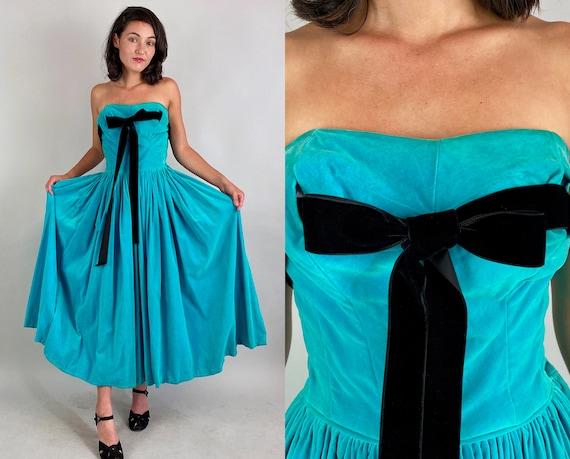 1940s Radiant Rachel Gown | Vintage 40s Robin's Egg Blue Cotton Velveteen Strapless Formal Dress with Black Velvet Ribbon | Extra Small XS