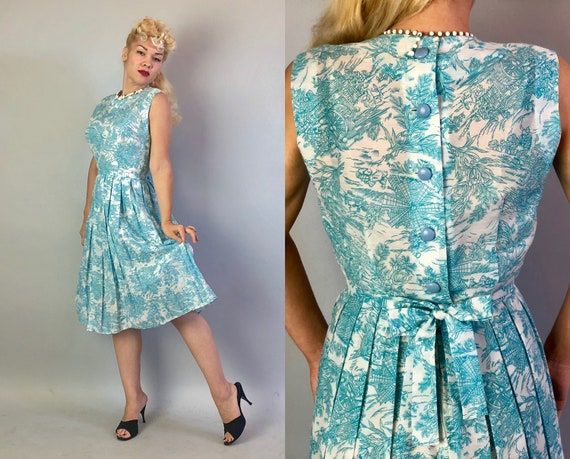 Vintage 1950s Dress | 50s Sky Blue and White Airy Cotton Sleeveless Novelty Print Day Dress with Windmill and Island Foliage Pattern | Small