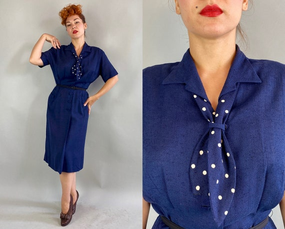 1940s Leading Lady Dress | Vintage 40s Navy Blue Linen Button Up Day Frock with White Polka Dot Necktie Kerchief and Pockets | Medium