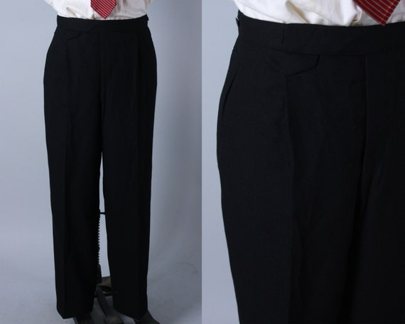 Vintage 1950s Mens Tuxedo Trousers | 50s Black Wool Twill Tux Pants Slacks With Ribbon Side Stripe & Adjustable Waist | 37x31 XL Extra Large