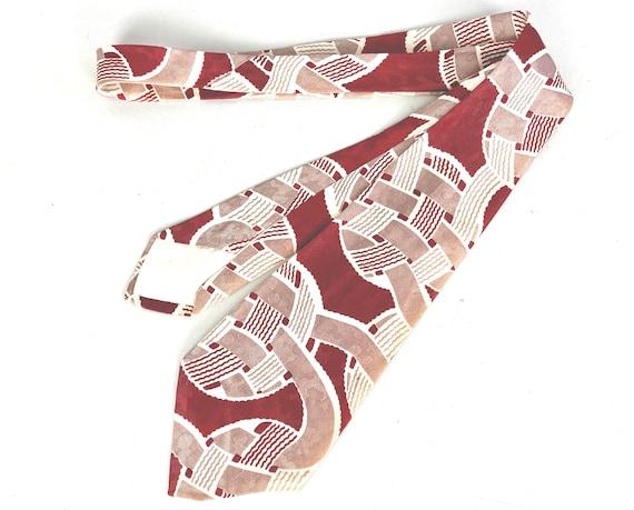 1940s Wonderful Weave Necktie   Vintage 40s Red White and Mauve Basket Woven Balls Pattern Rayon Self Tie Cravat