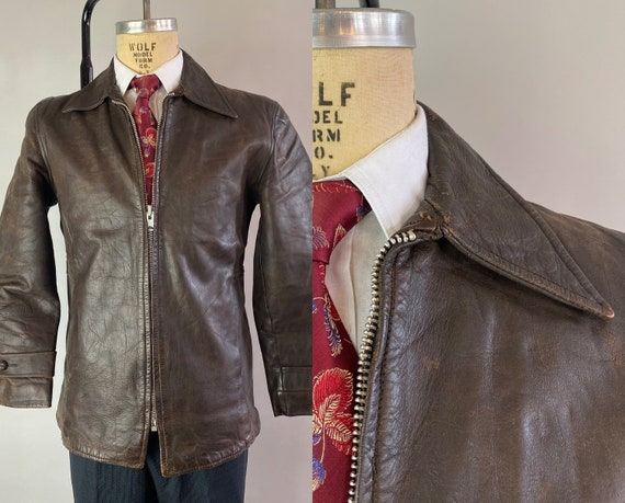 1950s Sleek Chic Motorcycle Jacket   Vintage 50s Coffee Bean Brown Horsehide Leather Coat with Waist Adjusters and Hidden Pockets   Medium