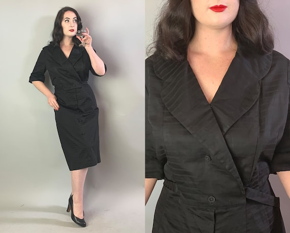 1950s Sultry Shirt Dress | Vintage 50s Black Cotton Monotone Pinstripe Button Blazer Front Day Frock w/Scallop Collar | XL Extra Large Volup