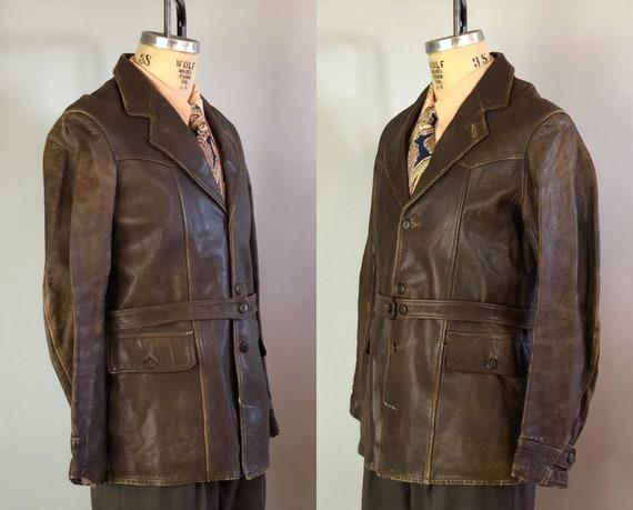 1940 Rebel Schreeuwt Lederen Jas Vintage Mens 40s Chestnut