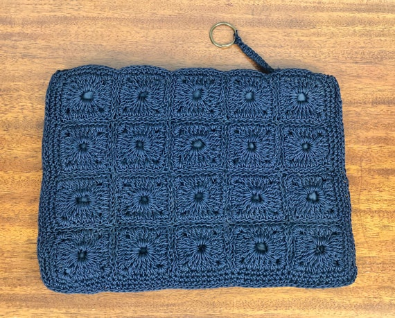 Vintage 1930s Purse | 30s Navy Blue Corde Clutch with Square Crochet Pattern and Brass Pull Ring Handbag