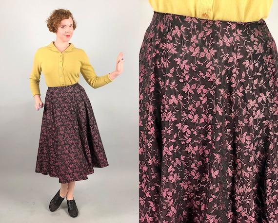 1950s Floral Jacquard Taffeta Skirt | Vintage 50s Dusty Rose Pink and Black Silk Eight-Panel Midi Cocktail Party Skirt | Small Medium