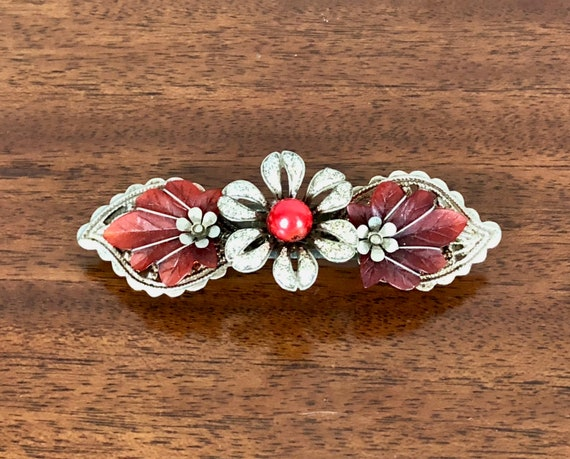 Vintage 1950s Barrette | 50s Mid Century Silver and Red Floral Flowers and Leaves & Paisley Hair Clip Pin Updo Accessory
