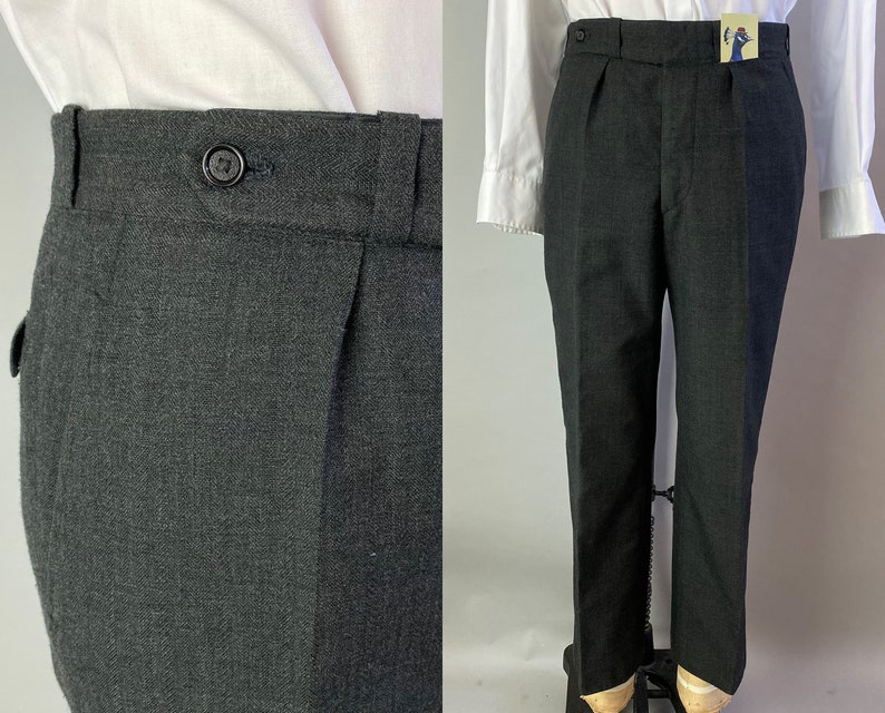 1930s Time Tested Trousers  Vintage 30s Charcoal Grey Wool image 0