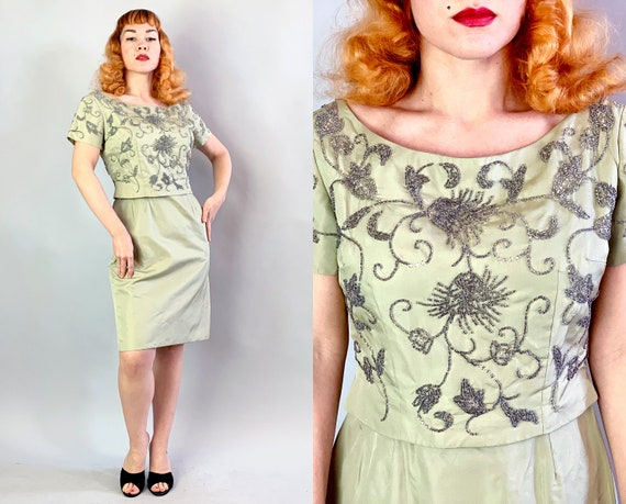 1950s Beaded Cocktail Dress | Vintage 50s Sage Green Taffeta Evening Party Frock with Intricate Bead and Crystal Embellished Bodice | Medium