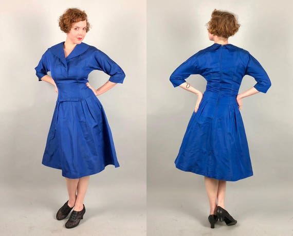 Vintage 1940s 1950s Dress | 40s 50s 'R & K Originals' Royal Blue Silk Faille Cocktail Party Dress with Dramatic Shawl Collar | Medium