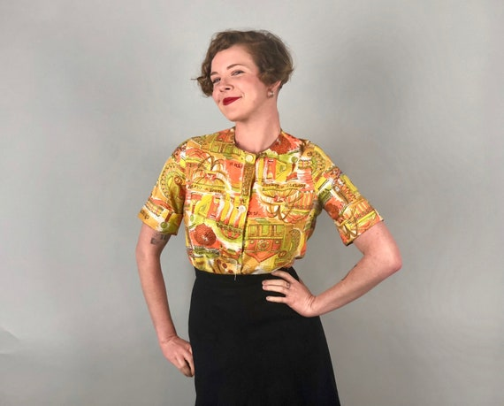 1960s Roman Holiday Blouse | Vintage 60s Novelty Print Button Up Shirt in Orange Yellow & Green w/Cuffed Sleeves and Pearly buttons | Medium