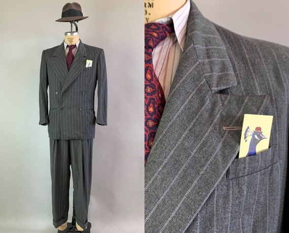 1940s Picture Perfect Suit | Vintage 40s Charcoal Grey Wool with White and Blue Pinstripe Peak Lapel Jacket and Trousers | Size 40 Medium