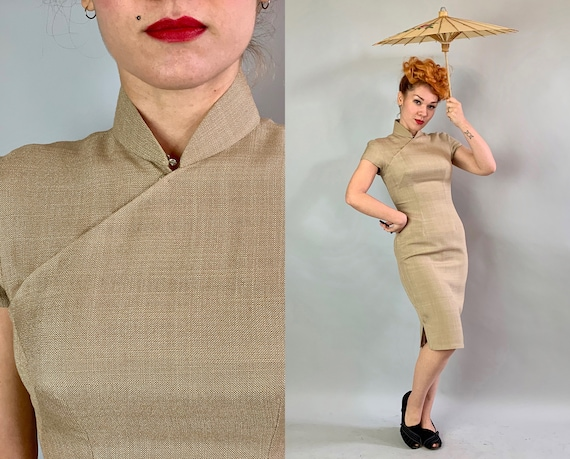 1950s Oatmeal Linen Cheongsam | Vintage 50s Silk Lined Cap Sleeve Woven Beige Taupe Brown QiPao Traditional Chinese Day Party Dress | Small