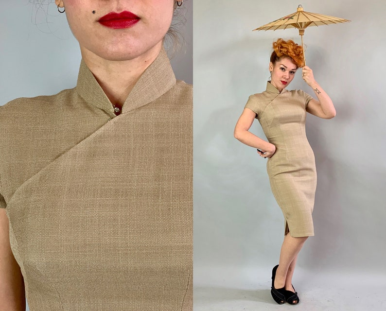 f8cedc535 1950s Oatmeal Linen Cheongsam Vintage 50s Silk Lined Cap | Etsy