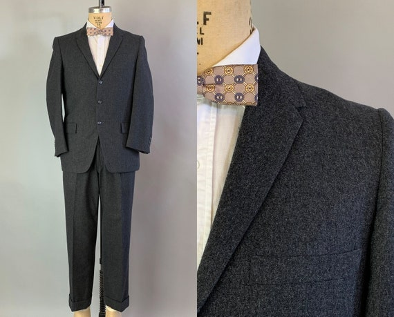 "1950s Suave Sammy Suit | Vintage 50s Charcoal Grey Wool Two Piece Single Breasted Blazer & Trousers by ""Roos Atkins"" 