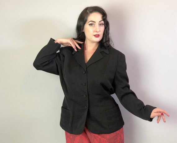 1940s Jet Black Gabardine Blazer | Vintage 40s Wool Jacket with Notched Lapel Self Buttons & Large Pockets w/Pintucks Volup | Extra Large XL