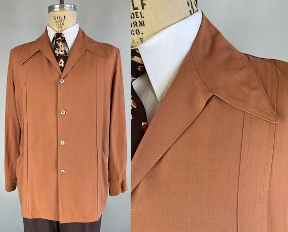 1940s Hep Hank's Hollywood Jacket   Vintage 40s Lightweight Squash Orange Wool Leisure Carmel Loafer Blazer Sport Coat    Size 42 Large