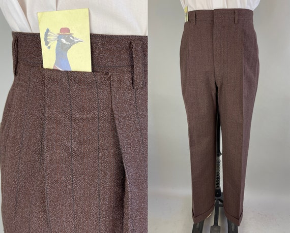 1940s Tommy's Terrific Trousers | Vintage 40s Gingerbread Brown Wool Pants Slacks with Alternating Pinstripes | Size 38x29.5 Extra Large XL
