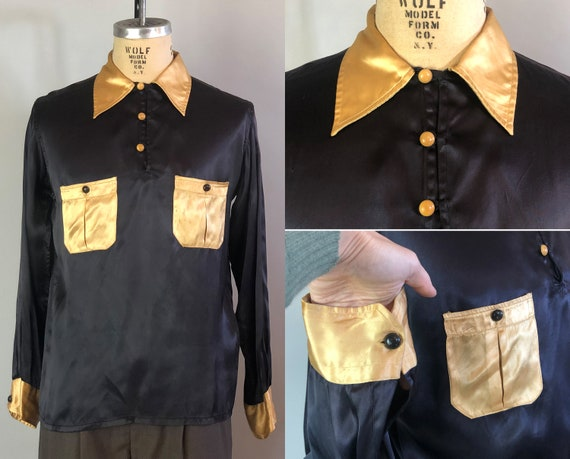 "1940s Mens Hollywood Gaucho Shirt | Vintage 40s Color Block Black and Cream Rayon Satin Top by ""Regent"" 