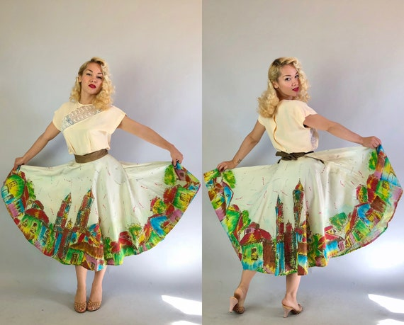 1940s Mexican Hand Painted Novelty Skirt | Vintage 40s Wrap Circle Skirt w/ City Border Print by 'Creaciones Naitan'  | XL Extra Large Volup