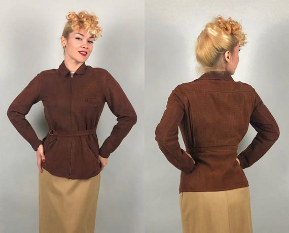 Vintage 1930s Leather Jacket   Incredible 30s Ultra Soft Sienna Brown Windowpane Imprint Nubuck Suede Belted-Back Fitted Jacket   Medium