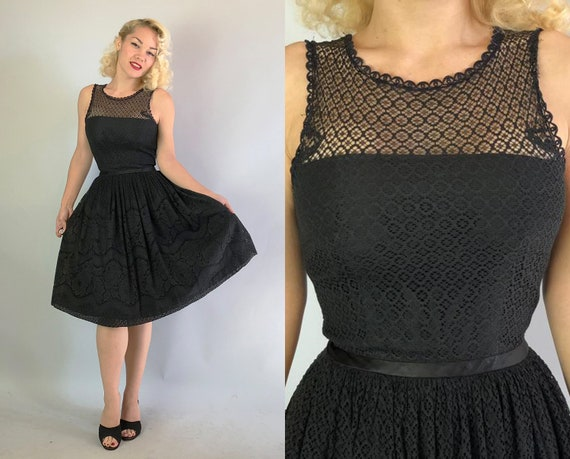 1950s Dress | Vintage 50s Black Sleeveless Fit and Flare Style Cotton Eyelet Lace Day to Night Dress with Sheer Scallop Neckline LBD | Small