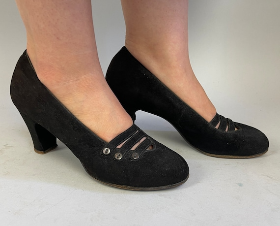 1930s Deco Darling Pumps | Vintage 30s Noir Black Suede Leather Low Heel Shoes with Shell Buttons and Peek-a-Boo Straps | Size 8