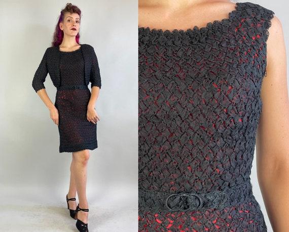 1950s Knock 'em Dead Three Piece Dress Set | Vintage 50s Black Ribbon Knit and Red Taffeta Bolero Jacket Frock and Belt | Small Medium