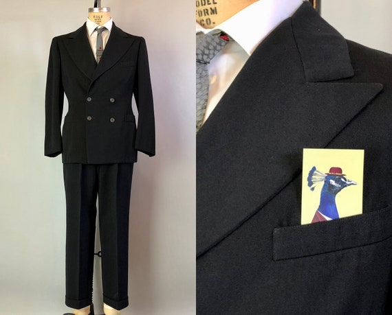 1940s Mens Suit Dated 1942!  | Vintage Early 40s Black Wool Double Breasted Peak Lapels Blazer & Hollywood Waist Trousers | Size 40 Medium