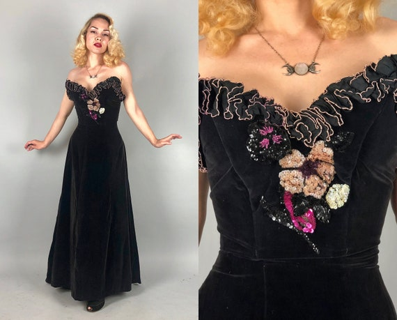 Vintage 1940s Gown | 40s Black Velvet Strapless Evening Dress with Dramatic Sweep, Floral Sequin Appliqué, and Bust Ruffle | Small